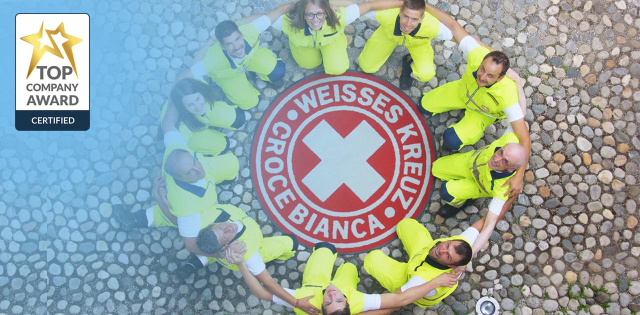 Weißes Kreuz mit Top Company Auszeichnung